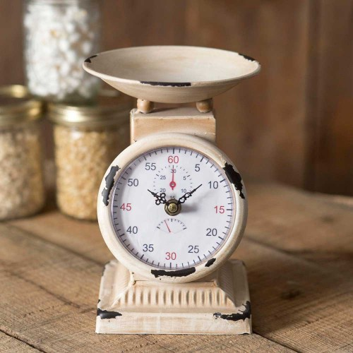 Small Rustic Kitchen Scale Clock
