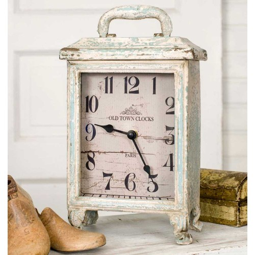 Rustic Carriage Clock in Distressed Tin