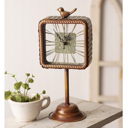 Roman Numeral Clock with Bird