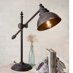 Distressed Adjustable Swing-Arm Task Farmhouse Lamp
