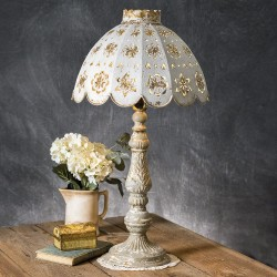 Farmhouse Table Lamp with Decorative Metal Shade