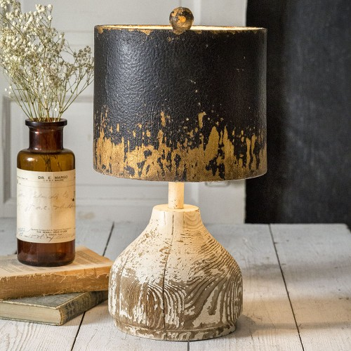 Wood Base Farmhouse Table Lamp with Metal Shade