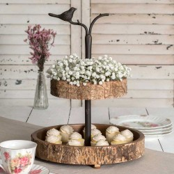 Bird and Birch Rustic Two Tiered Decorative Tray