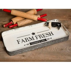 Farm Fresh Country Life Galvanized Serving Tray
