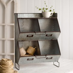 Four Bin Metal Wall Organizer with Wire Mesh Lids