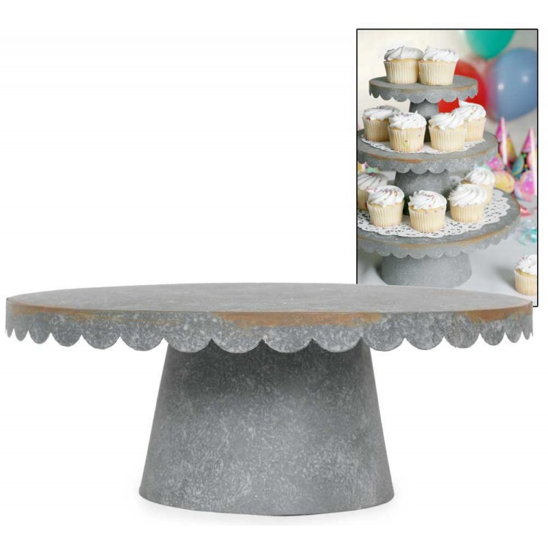 Large Scalloped Galvanized Metal Cupcake Stand