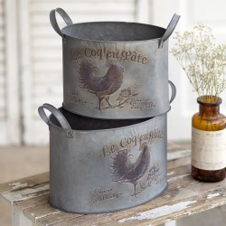 "Set of Two ""Le Coq en Pâte"" Metal Bins"