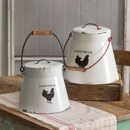 Set of Two Flared Bottom Buckets with Lids