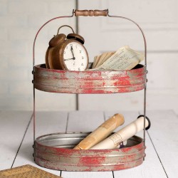 Vintage Style Two Tier Weathered Red/Grey Serving Caddy