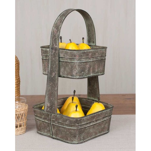 Two Tier Rustic Metal Square Tote