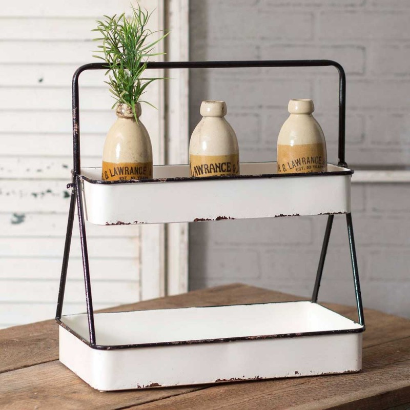 White Two Tiered Tray Country Vintage Home