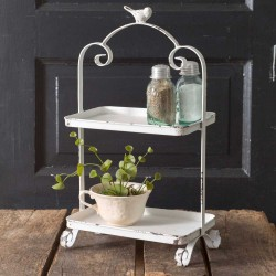 White Songbird Vintage Metal  Two Tier Caddy