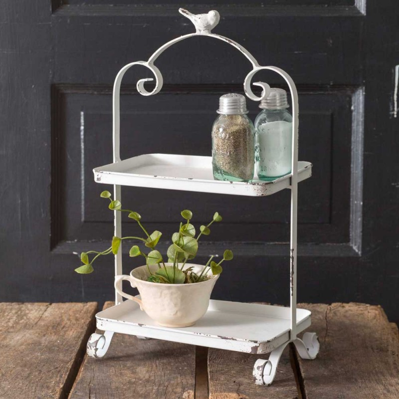 White Songbird Vintage Metal Two Tier Caddy Country