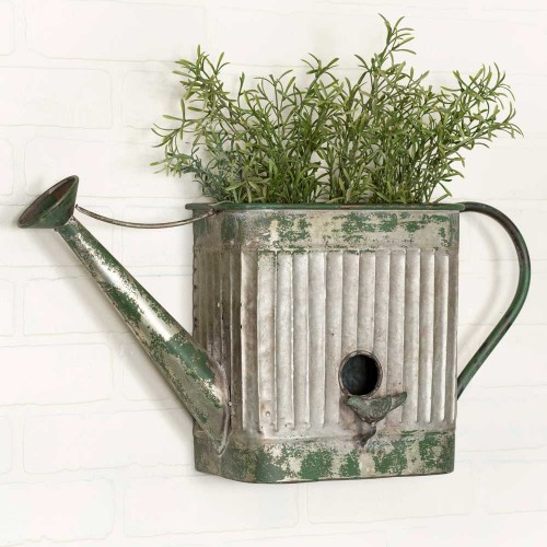 Galvanized Metal Watering Can Wall Planter and Bird House