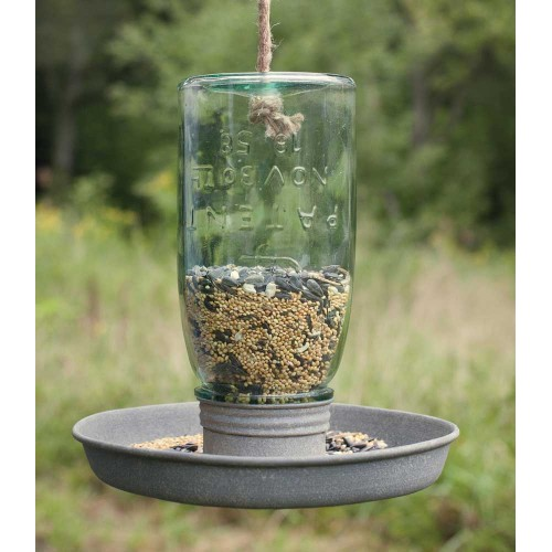 Vintage Hanging Mason Jar Wild Bird Feeder