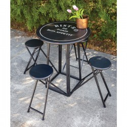 Bistro Folding Metal Table with Four Stools