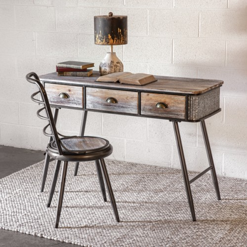 Industrial Style Wood and Metal Desk with Chair