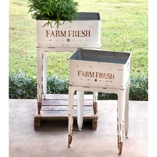 Farm Fresh Distressed White Metal Garden Plant Stands