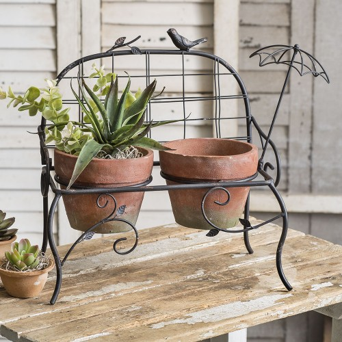 Garden Bench with Terracotta Pots