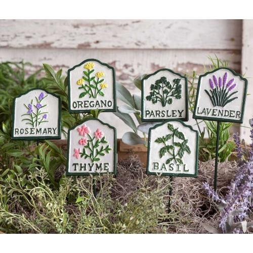 Set of Six Herb Cast Iron Garden Plant Stakes