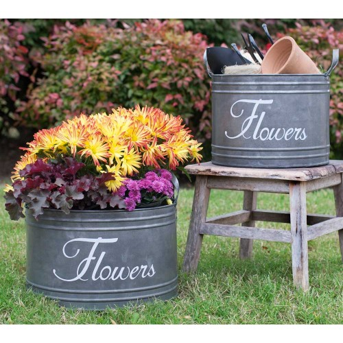 Set of Two Flower Bins