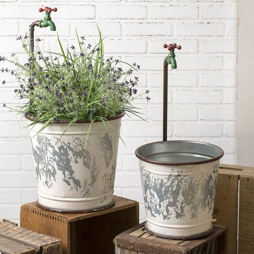 Set of Two Garden Faucet Flower Buckets