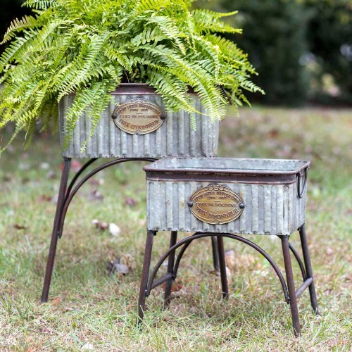"Set of Two ""Poland"" Metal Garden Tubs/Planters with Stands"