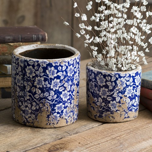 Set of Two Rustic Ceramic Flower Pots