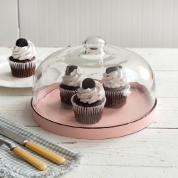 Pink Dessert Cloche With Base