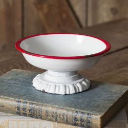 Red Trim Pedestal Dish
