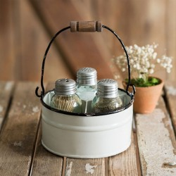 Round Bucket Salt Pepper and Toothpick Caddy - White
