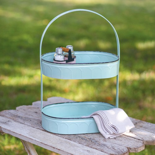 Two-Tiered Oval Seafoam Tray