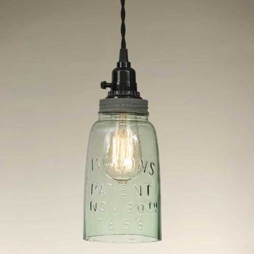 Half Gallon Rustic Open Bottom Mason Jar Pendant Light - Barn Roof lid