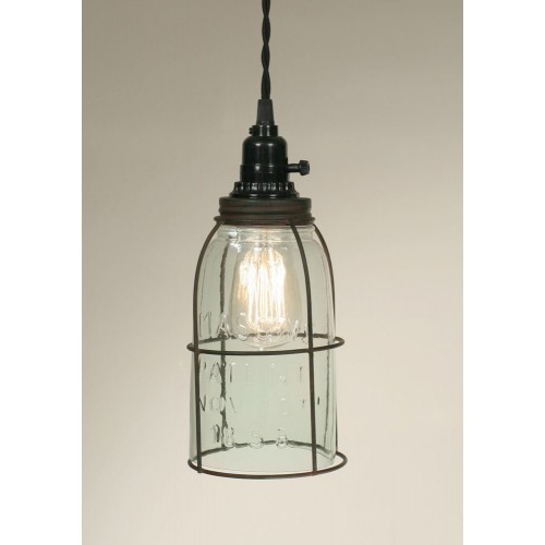 Half Gallon Rustic Caged Mason Jar Pendant Light