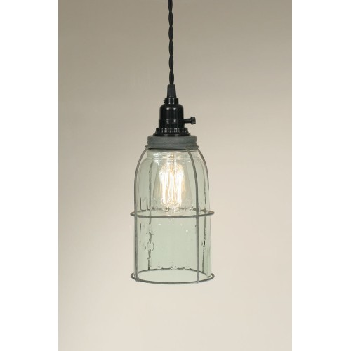 Half Gallon Rustic Caged Mason Jar Pendant Light - Barn Roof