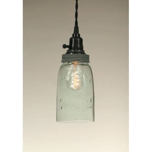 Quart Open Bottom Rustic Mason Jar Pendant Light - Barn Roof lid