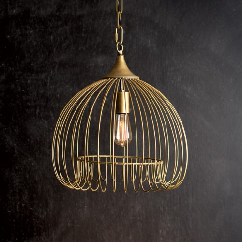 Antique Brass Wire Hanging Pendant Light