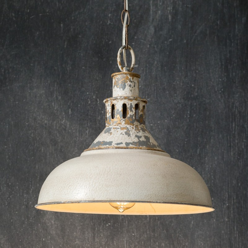 Distressed White Metal Pendant Light Country Vintage Home