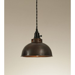 Rustic Dome Pendant Light - Aged Copper