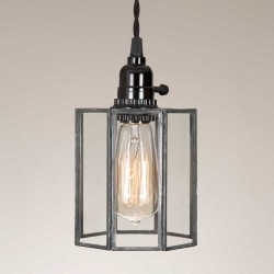 Clear Glass Drum Farmhouse Pendant Light