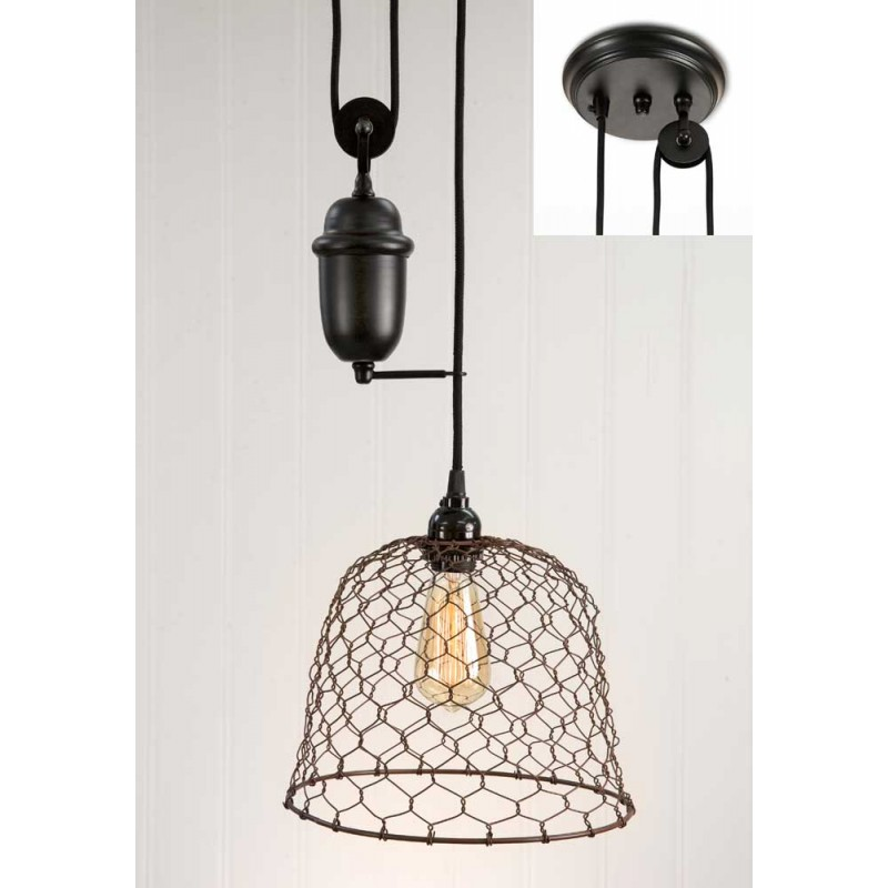 Rustic Chicken Wire Dome Pulldown Pendant Lamp | CountryVintageHome.com