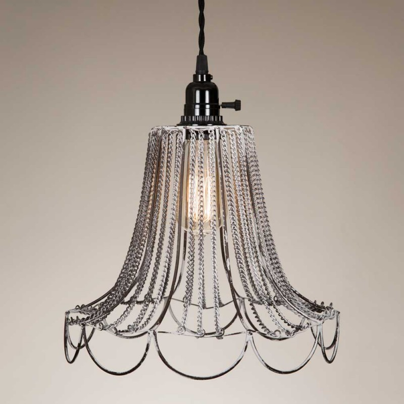 Vintage Shabby Chic Wire Pendant Lamp