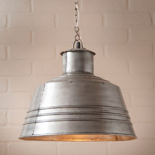 Canning Table Farmhouse Pendant Light in Brushed Tin