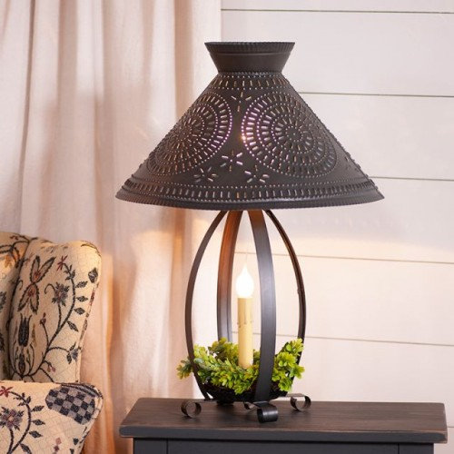 Betsy Ross Colonial Table Lamp with Chisel Shade in Kettle Black