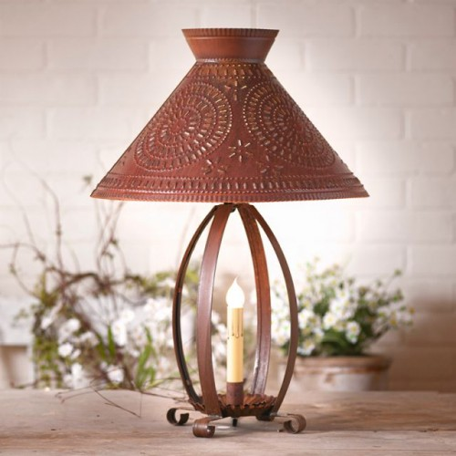 Betsy Ross Colonial Table Lamp with Chisel Shade in Rustic Tin