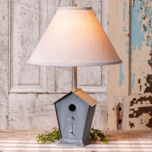 Birdhouse Lamp with Ivory Linen Shade