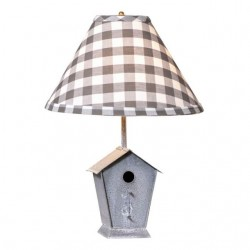 Birdhouse Lamp with Gray Check Shade