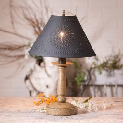 Butcher's Lamp in Americana Pearwood with Textured Black Tin Shade