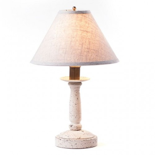 Butcher Lamp in Americana White with Linen Ivory Shade