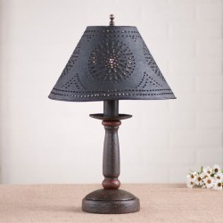 Butcher's Primitive Table Lamp in Americana Espresso with Textured Black Tin Shade